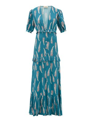 ADRIANA DEGREAS aloe-print pleated-trim twill maxi dress