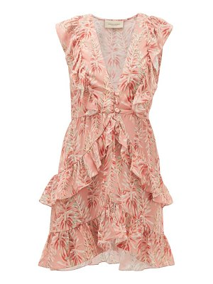 ADRIANA DEGREAS aloe-print ruffled crepe dress