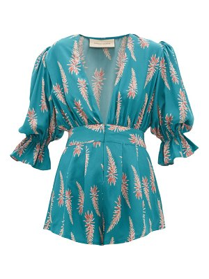 ADRIANA DEGREAS aloe-print silk-crepe playsuit