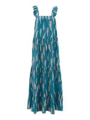 ADRIANA DEGREAS aloe-print square-neckline twill dress