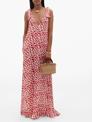 ADRIANA DEGREAS bacio lip-print maxi dress