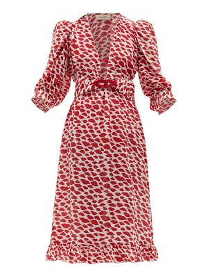 ADRIANA DEGREAS bacio lips-print silk crepe de chine dress