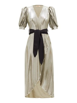 ADRIANA DEGREAS balloon-sleeve metallic-effect jersey dress