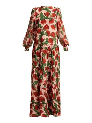 ADRIANA DEGREAS fiore tiered floral-print silk dress