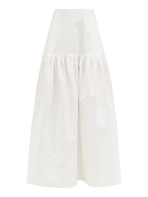 ADRIANA DEGREAS gathered cotton-blend maxi skirt