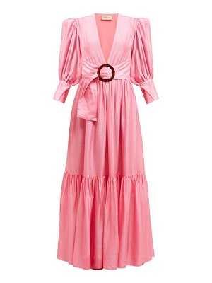 ADRIANA DEGREAS gigot sleeved belted dress