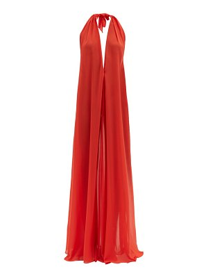 ADRIANA DEGREAS halterneck georgette maxi dress