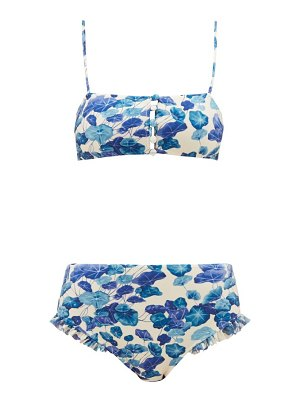 ADRIANA DEGREAS high-rise lotus-print bikini
