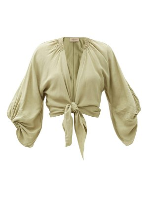 ADRIANA DEGREAS knotted-front cropped linen-blend blouse