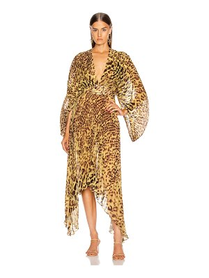 ADRIANA DEGREAS leopard pleated midi dress
