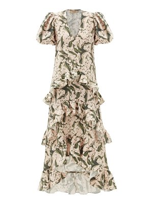 ADRIANA DEGREAS lily of the valley-print ruffled linen-blend dress