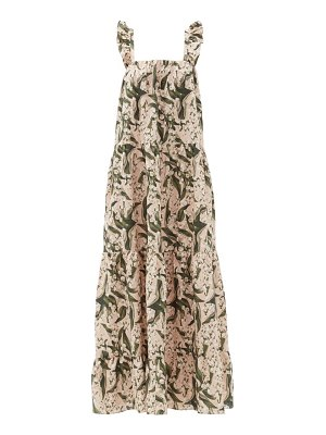ADRIANA DEGREAS lily of the valley-print tiered linen-blend dress
