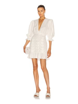 ADRIANA DEGREAS linen puff-sleeves short dress with application