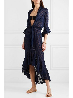 ADRIANA DEGREAS marine ruffled polka-dot georgette maxi dress