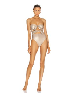 ADRIANA DEGREAS metallic strapless high-leg swimsuit with double knot