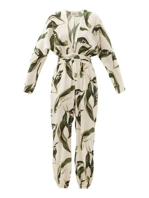 ADRIANA DEGREAS floral-print plunge-neck silk jumpsuit