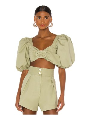 ADRIANA DEGREAS muguet solid cropped blouse