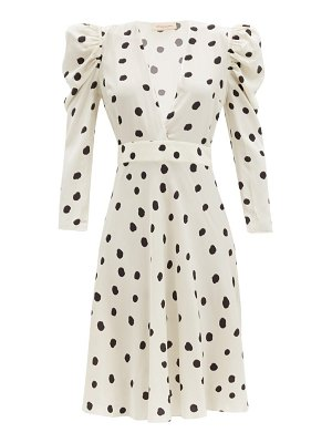 ADRIANA DEGREAS plunge-neck polka-dot poplin midi-dress