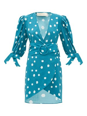 ADRIANA DEGREAS polka-dot belted cotton wrap dress