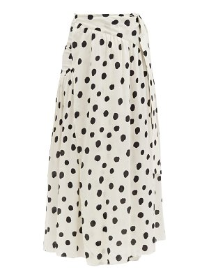 ADRIANA DEGREAS polka-dot gathered-poplin wrap skirt