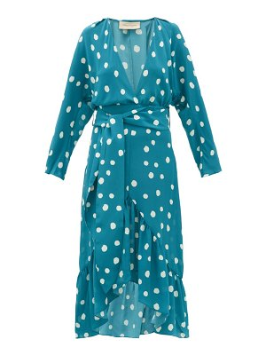 ADRIANA DEGREAS polka dot-print silk-crepe midi dress