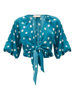 ADRIANA DEGREAS polka-dot tie-front silk top
