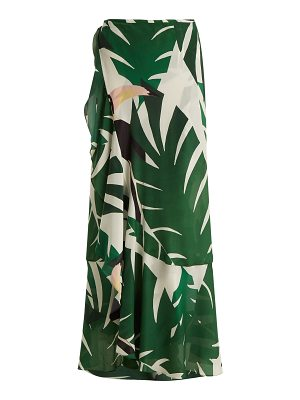 ADRIANA DEGREAS Printed silk crepe wrap skirt