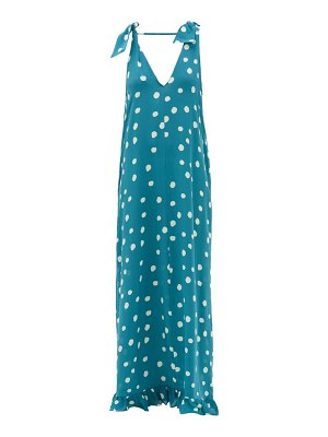 ADRIANA DEGREAS ruffle-hem polka-dot silk maxi dress