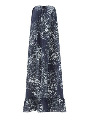 ADRIANA DEGREAS serpent abstract-print strapless cotton maxi dress