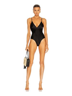 ADRIANA DEGREAS solid halterneck frilled swimsuit