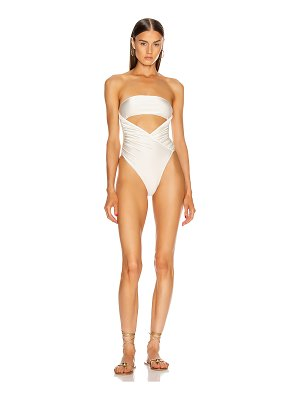 ADRIANA DEGREAS solid high leg strapless swimsuit
