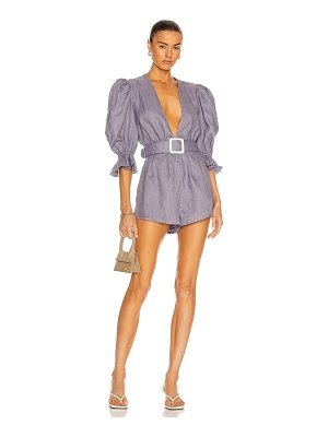 ADRIANA DEGREAS solid playsuit with voluminous sleeves and belt romper