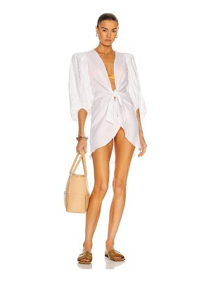 ADRIANA DEGREAS solid shirt with voluminous sleeves and knot top