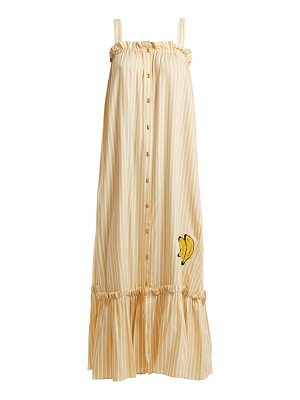 ADRIANA DEGREAS Striped embroidered long-dress