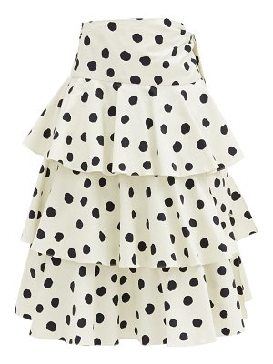 ADRIANA DEGREAS tiered polka-dot cotton-blend midi skirt
