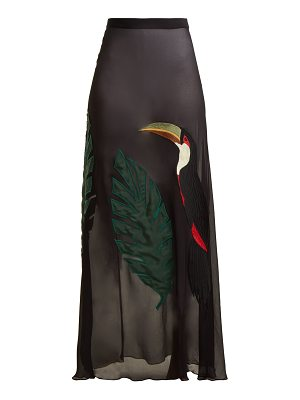 ADRIANA DEGREAS Toucan-embroidered silk skirt