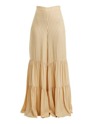 ADRIANA DEGREAS Two-tier striped wide-leg trousers