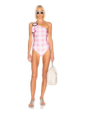 ADRIANA DEGREAS Vichy One-Shoulder Swimsuit With Hoop