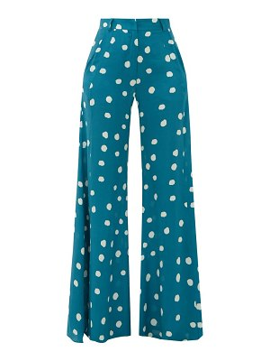 ADRIANA DEGREAS wide-leg polka-dot silk trousers