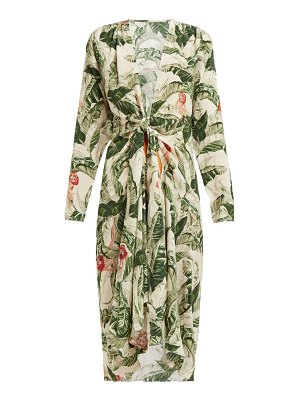 Adriana Degreas x Cult Gaia knotted tropical-print silk cover up
