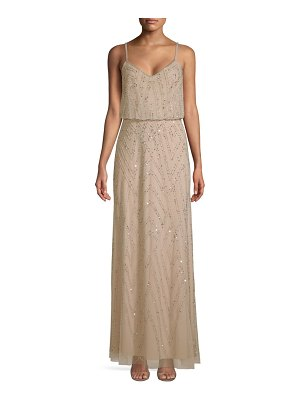 Adrianna Papell Beaded One-Shoulder Blouson Mesh Gown in Pink ...