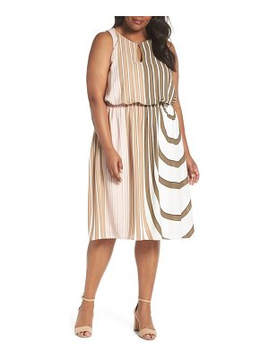 Adrianna Papell beta stripe georgette fit & flare dress