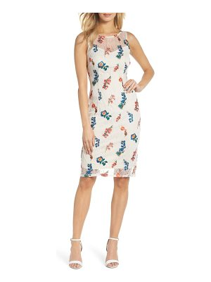 Adrianna Papell embroidered chantilly lace sheath dress