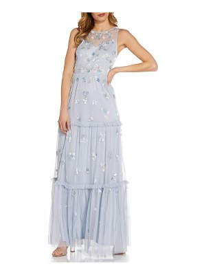 Adrianna Papell floral beaded tiered gown