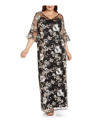 Adrianna Papell floral embroidered column gown