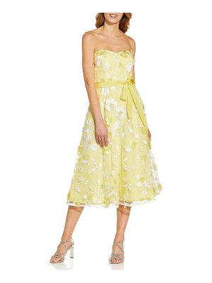 Adrianna Papell floral embroidered strapless cocktail midi dress