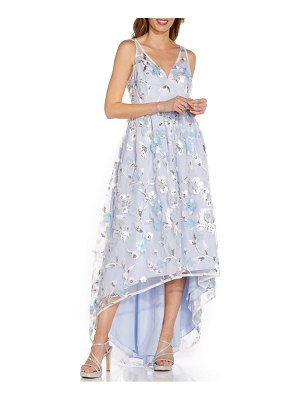 Adrianna Papell floral embroidery high low gown
