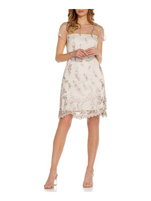 Adrianna Papell floral embroidery illusion lace shift dress