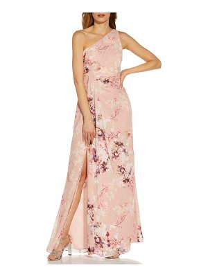 Adrianna Papell floral one-shoulder chiffon gown