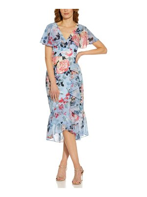 Adrianna Papell floral wrap front ruffle midi dress